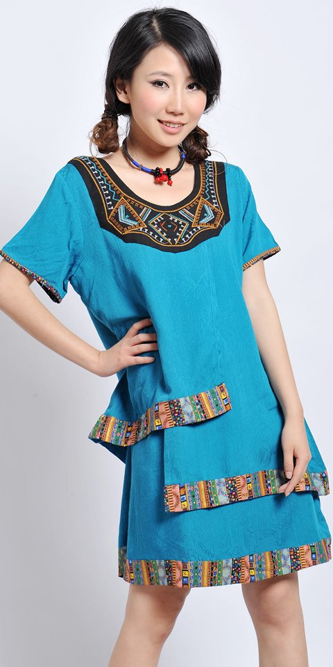 Ethnic Round Collar Floral Printing Cotton Dress (RM)