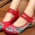 低跟花卉繡花鞋(紅色)