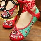 低跟花卉繡花鞋(多色)
