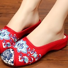 Flower Embroidery Slippers (Red)