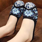 Flower Embroidery Slippers (Black)