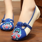 Low Heel Opera Mask Embroidery Shoes (Blue)