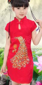 Girl's Peacock Embroidery Cheongsam Dress (RM)