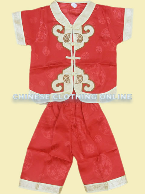 Boy's Short-sleeve Double Cloud Hooks Mandarin Suit (RM)