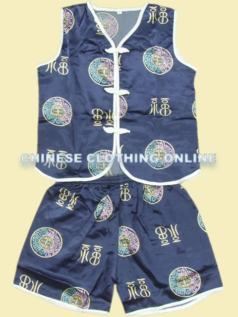 Boy's Short-sleeve Blessing & Longevity Mandarin Suit (RM)