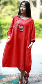 Ethnic Cotton Linen Loose Dress- Red (RM)