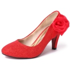 High Heel Ribbon Flower Shoes (Red)