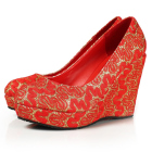 High Heel Lace Vamp Wedge Shoes
