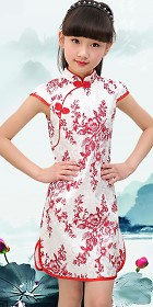 Girl's Floral Jacquard Cheongsam Dress (RM)