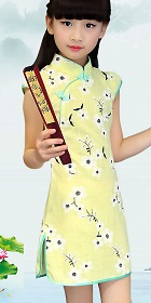 Girl's Floral Cotton Cheongsam Dress (RM)