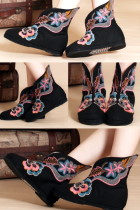 Low Heel Floral Embroidery Mid Height Boots (Blue)