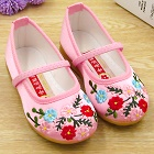 Girl's Flower Embroidery Shoes (Pink)