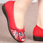 Low Heel Opera Mask Embroidery Shoes (Red)