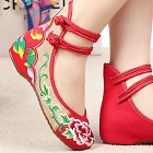 Mid Heel Flower Embroidery Shoes (Red)