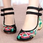 Mid Heel Flower Embroidery Shoes (Black)