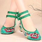 Mid Heel Flower Embroidery Shoes (Green)