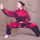 Professional Taichi Kungfu Uniform with Pants - Korean Silk - Burgundy (RM)