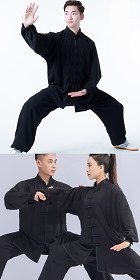 Professional Taichi Kungfu Uniform with Pants - Cotton/Silk - Black (RM)