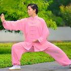專業太極武術練功服連褲 - 棉加絲 - 粉紅色