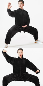 Professional Taichi Kungfu Uniform with Pants - Velvet - Black (RM)