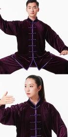 專業太極武術練功服連褲 - 金絲絨 - 紫色