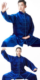 Professional Taichi Kungfu Uniform with Pants - Velvet - Sapphire Blue (RM)