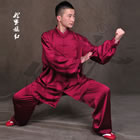 Professional Taichi Kungfu Uniform with Pants - Silk Fibroin Satin - Medium Violet Red (RM)
