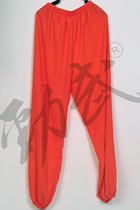 Professional Taichi Kungfu Pants - Ice Silk Linen - Orange Red (RM)