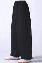 專業太極武術練功褲 - 棉加絲 - 黑色