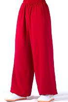 專業太極武術練功褲 - 棉加絲 - 紅色