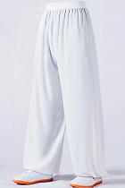 專業太極武術練功褲 - 棉加絲 - 白色