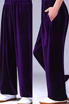 專業太極武術金絲絨練功褲 - 金絲絨 - 紫色