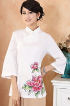 Hand-Painting Mudan Peony 3/4-sleeve Chinese Ethnic Blouse (Ready-Made)