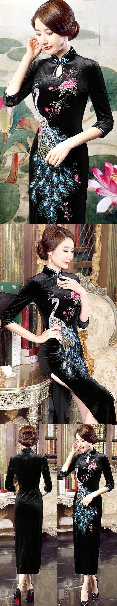 Elbow-sleeve Embroidery Velvet Cheongsam (RM)