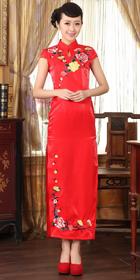 Long-length Cup-sleeve Embroidery Cheongsam (RM)