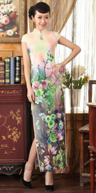 Long-length Cup-sleeve Printing Silky Cheongsam (RM)