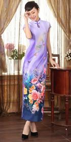 Long-length Cup-sleeve Silk Printing Cheongsam (RM)