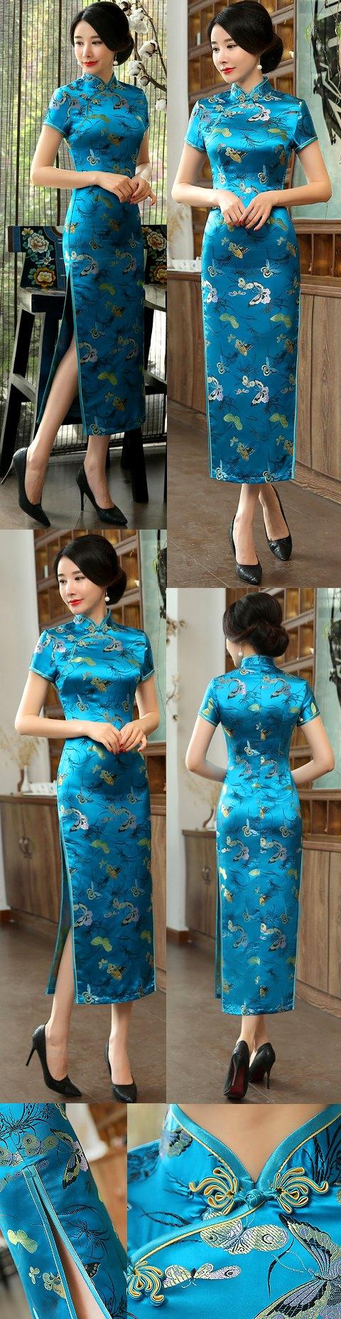 Short-sleeve Long-length Brocade Cheongsam (RM)