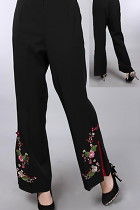 花卉刺繡中式長褲 (成衣)