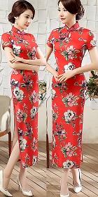 Short-sleeve Silk Printing Cheongsam (RM)