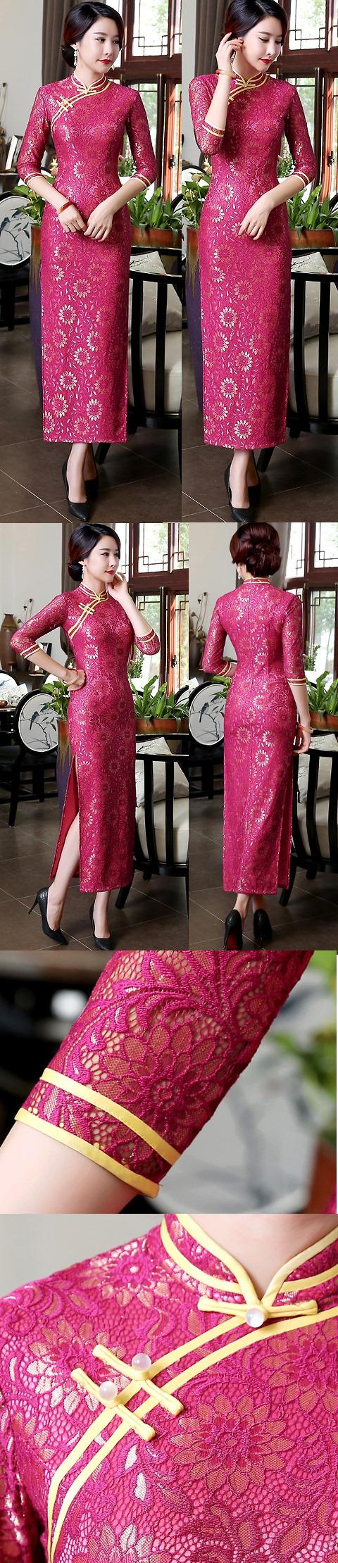 Elbow-sleeve Gorgeous Embroidery Gauze Cheongsam (RM)