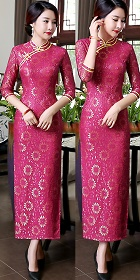 Elbow-sleeve Gorgeous Embroidery Gauze Cheongsam (RM)