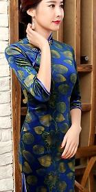 六分袖絲絨旗袍 (成衣)