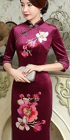 特價品-六分袖絲絨旗袍 (成衣)