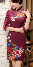 3/4-sleeve Short-length Velvet Printing Cheongsam (RM)