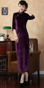 Elbow-sleeve Long-length Velvet Cheongsam (RM)