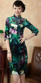 Elbow-sleeve Short-length Spray Painting Velvet Cheongsam (RM)