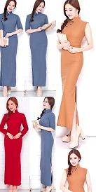 特價品-長身棉麻旗袍
