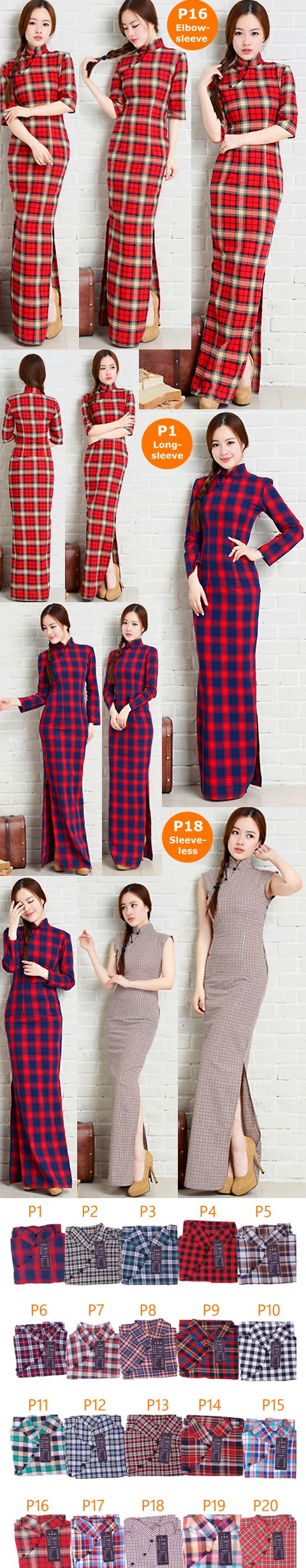 Long-length Cotton Yarn-dyed Checks Cheongsam Dress