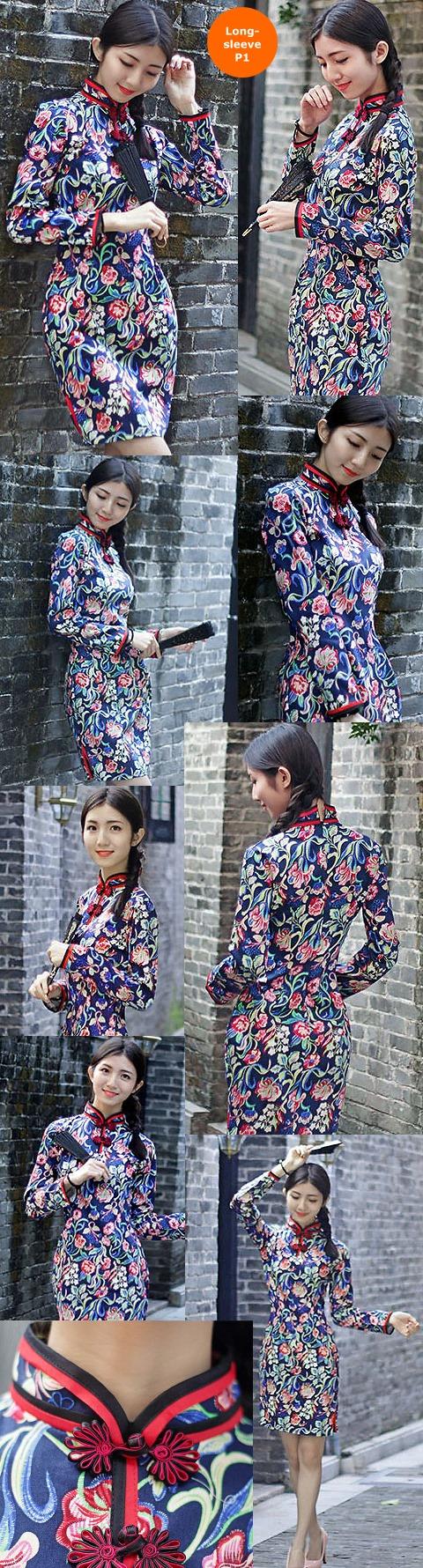 中長身全棉印花旗袍